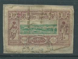 Timbre Protectorat Cote De Somalie 10 C Brun Lilas Et Vert - Gebruikt