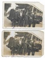 Photo Chauffeur Et Controleurs RATP Posant Devant Leurs Bus Ligne St Denis Réaumur Chatelet Lot De 2 Photos - Cars