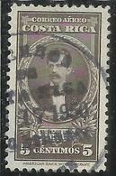 COSTA RICA 1943 1948 AIR MAIL POSTA AEREA AEREO PORTRAIT SALVADOR LARA CENT 5c USATO USED OBLITERE' - Costa Rica