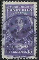 COSTA RICA 1943 1948 AIR MAIL POSTA AEREA AEREO PORTRAIT CARLOS DURAN CENT 5c USATO USED OBLITERE' - Costa Rica