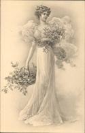 Artiste Cp Renault, A., Elegante Dame Mit Mistelzweigen Und Stechpalmenzweigen - Illustrators & Photographers