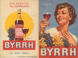 """Calendrier 1955 - """" BYRRH """" - Calendar - Publicité Pub - Calendriers"""