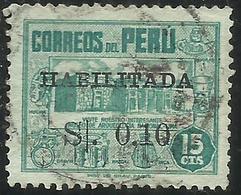PERU' 1951 HABILITADA SURCHARGE 0,10 ON CENT. 15  Archaeological MUSEUM LIMA MUSEO ARCHEOLOGICO USATO USED OBLITERE' - Perù