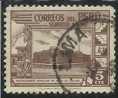PERU' 1938 AIR MAIL POSTA AEREA GOVERNMENT RESTAURANT AT CALLAO RISTORANTE GOVERNATIVO CENT. 5 USATO USED OBLITERE' - Perù