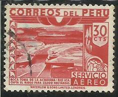 PERU' 1945 1946 AIR MAIL POSTA AEREA DAM ICA RIVER DIGA FIUME CENT. 30 USATO USED OBLITERE' - Perù