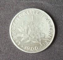 Pièce 1 Franc Semeuse Argent 1900. - France