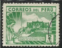 PERU' 1945 1947 Children's Holiday CENTER ANCON CENT. 2c USATO USED OBLITERE' - Perù