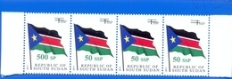 SOUTH SUDAN Surcharge Overprint ERROR On The 50 SSP OP On 1 SSP Flag Stamp:  500 SP Südsudan Soudan Du Sud - Südsudan