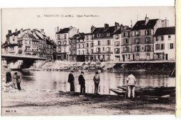X77095 THORIGNY Seine Marne Pêcheurs Peche QUAI PAUL MOREAU CPA 1920s- Edit J.BOURGOGNE N°71 - Fontainebleau
