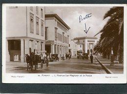 CPA - RABAT - L'Avenue Dar Maghzen Et La Poste, Animé - Attelage, Automobiles - Rabat