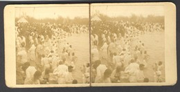 India ± 1900?, Bathing In The Ganges - Stereoscoop