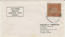 LETTRE JAPANESE SPECIAL SERVICE POST BURMA AVEC TIMBRE NON DENTELE - Myanmar (Birmanie 1948-...)