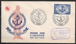 T 00987 - France 1951, FDC Troupes Coloniales, Côte 70.00 € - FDC
