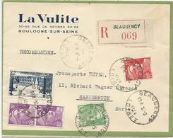 LETTRE RECOMMANDEE 1949 POUR LA SARRE AVEC 5 TIMBRES TYPES  GANDON / PLACE STANISLAS NANCY - Postmark Collection (Covers)