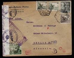A6067) Spanien Spain Luftpostbrief Valencia  N. Berlin Doppelte Zensur - 1931-Heute: 2. Rep. - ... Juan Carlos I