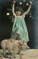Enfant Et Cochon - Carte Photo Cpa - 1905 - Pig Cochons - Buon Anno - Cochons