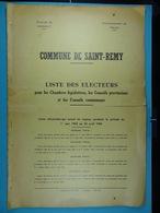 Liste Des électeurs De Saint-Remy (Chimay) De 1962 à 1964 - Documents Historiques