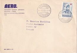 FINLANDE 1953 PLI AERIEN DE HELSINKI POUR PARIS  1ERE LIAISON AERIENNE - Airmail