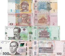 NEW DATE!!! Ukraine 2018 Set 4 Pcs 1+2+20+500 Hryvnia UNC (Signature - Smoliy) - Ukraine