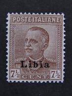 """ITALIA Colonie Libia-1928-29- """"Effigie"""" C. 7 1/2 Ottima Centratura MLH* (descrizione) - Libia"""