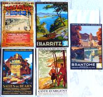 Lot De 5 CPM Publicitaires Du CHEMIN De FER De PARIS-ORLEANS-MIDI: Arcachon, Biarritz, Brantome, Salies .... - Ferrovie