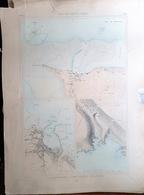 ILE D'YEU HERBAUDIERE   PORT JOINVILLE  PLAN DU PORT ET DE LA VILLE  EN 1882 DE L'ATLAS DES PORTS DE FRANCE 49 X 67 Cm - Cartes Marines
