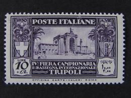 """ITALIA Colonie Libia-1930- """"4^ Fiera Tripoli"""" £. 10 MNH** (descrizione) - Libye"""