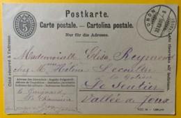 8231 -  Entier Postal Oron 30.12.1906 Pour Le Sentier  Dessiné à La Main Anémone, Fougère - Interi Postali