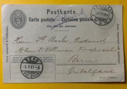 8232 -  Entier Postal Ambulant No 11 03.10.1907  Cachet Manuscrit Schönwerd Pour Bern - Entiers Postaux
