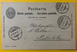 8232 -  Entier Postal Montreux 25.06.1896 Pour Interlaken - Entiers Postaux