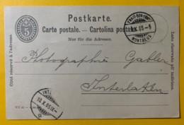 8233 -  Entier Postal Trait-Bon-Port Montreux 09.10.1905  Pour Interlaken - Interi Postali