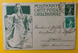 8238 -  Entier Postal Monument Union Postale Universelle Interlaken 28.10.1909 Pour Grasse - Entiers Postaux