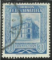 VENEZUELA 1953 POST OFFICE CARACAS UFFICIO POSTALE CENT. 30c USED USATO OBLITERE' - Venezuela