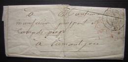 Astaffort (Lot Et Garonne) 1846 Port Payé Pour Lamontjoie + Cursive 45 Francescas Au Revers - Marcophilie (Lettres)
