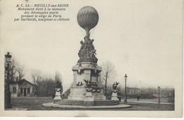 92 ( Hauts De Seine ) - NEUILLY Sur SEINE - Monument Eleve A La Memoire Des Aeronautes ( Bartholdi, Sculpteur, Architect - Neuilly Sur Seine