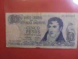 ARGENTINE 5 PESOS 1974-76 CIRCULER - Argentine