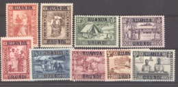 Ruanda Urundi  :  Yv  81-89  * - 1924-44: Neufs