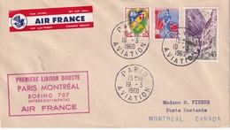 FRANCE 1960 LETTRE DE PARIS AVIATION POUR MONTREAL  1ERE LIAISON DIRECT PAR BOEING 707 - Postmark Collection (Covers)