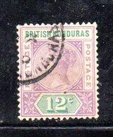APR189 - BRITISH HONDURAS 1891 , Yvert N. 44  Usato - British Honduras (...-1970)