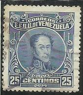 VENEZUELA 1914 - 1923 SIMON BOLIVAR CENT. 25c USED USATO OBLITERE' - Venezuela