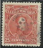 VENEZUELA 1924 - 1939 SIMON BOLIVAR CENT. 25c USED USATO OBLITERE' - Venezuela