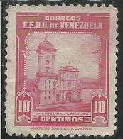 VENEZUELA 1947 CATHEDRAL CATEDRAL CATTEDRALE CARACAS CENT. 10c USED USATO OBLITERE' - Venezuela