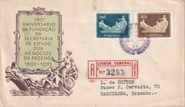 PORTUGAL 1954 FDC RECOMMANDE DE LISBONNE AVEC CACHET ARRIVEE BARCELONE - FDC
