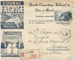 ENVELOPPE RECOMMANDEE ILLUSTREE - COGNAC ET CHAMPAGNE FABRICE - 1948 A DESTINATION DE LA SARRE - Postmark Collection (Covers)