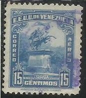 VENEZUELA 1940 1944 AIR MAIL POSTA AEREA AEREO SIMON BOLIVAR STATUE 1943 CENT. 15c USED USATO OBLITERE' - Venezuela