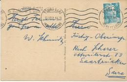 CARTE POSTALE 1952 POUR LA SARRE AVEC   TIMBRE A 8 FR MARIANNE DE GANDON - Postmark Collection (Covers)