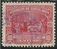 COSTA RICA 1930 COLUMBUS PANAMERICAN POSTAL CONGRESS UPU 1929 CENT 10c USATO USED OBLITERE' - Costa Rica