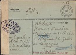 Guerre 39 Militaire Suisse écrivant Militaire Français Cachet CP MOT CAN INF 31 Poste De Campagne Censure WD 372 Belfort - Guerre De 1939-45