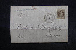 FRANCE -  Lettre De Paris Pour Genève En 1870 , Affranchissement Napoléon 30ct , Obl. étoile 1 -  L 27700 - 1849-1876: Période Classique
