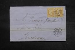 FRANCE -  Lettre De Coutras Pour Bordeaux En 1865 , Affranchissement Napoléon  En Paire , Variétés  -  L 27701 - 1849-1876: Période Classique
